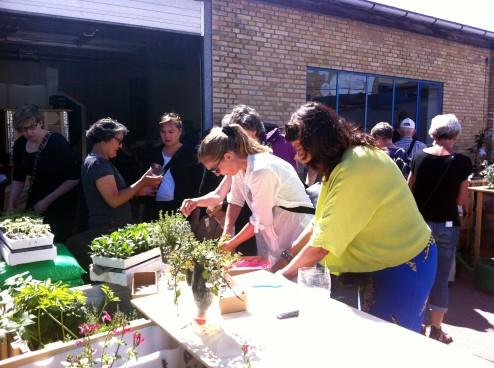 Krydderurteworkshop af genbrugsmaterialerTagTomat_2014_06-15_rundvisning-Østerbro-Lokaludvalg_IMG_6137