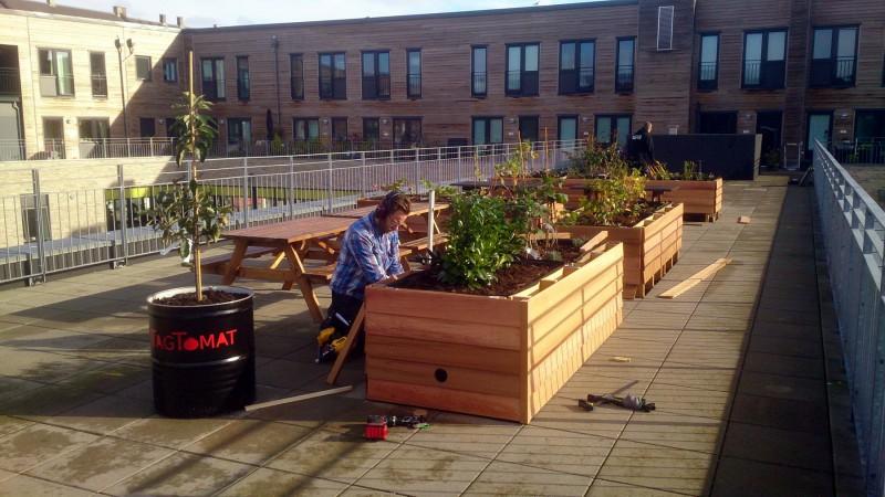 Kristian færdigmontere siddebeklædning i cedertræ.