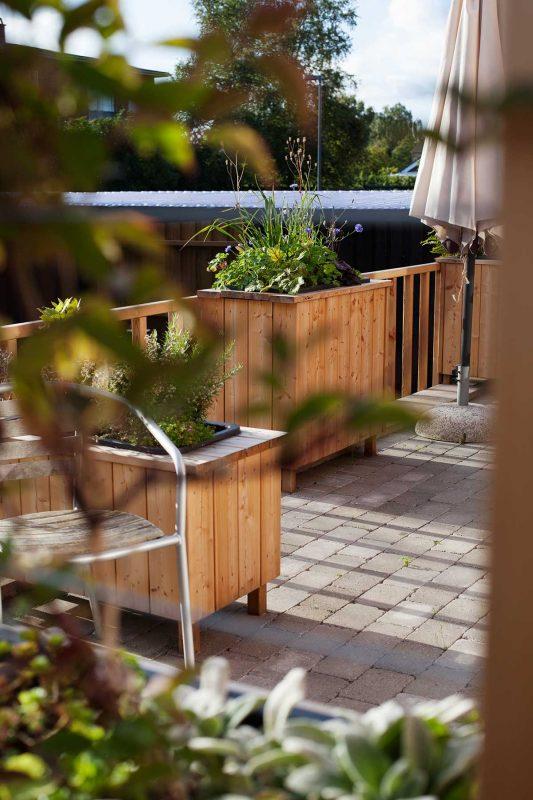 Slyngplanter og krydderurter skaber grønne rum på terrassen. Et fint design med både lærketræ og plantekumme