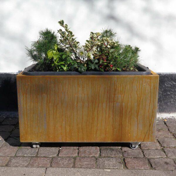 Plantekumme i corten 80x40x40cm med hjul og plantekasse