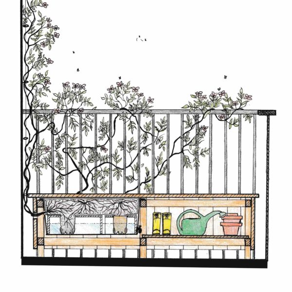 Pixiguide til Kombinationsmøbel med indbygget plantekasse i bænk