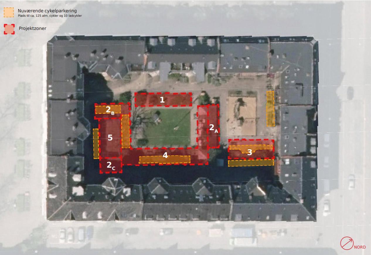 Satelitbillede med de 5 zoner for Gårdprojekt Baldersgården