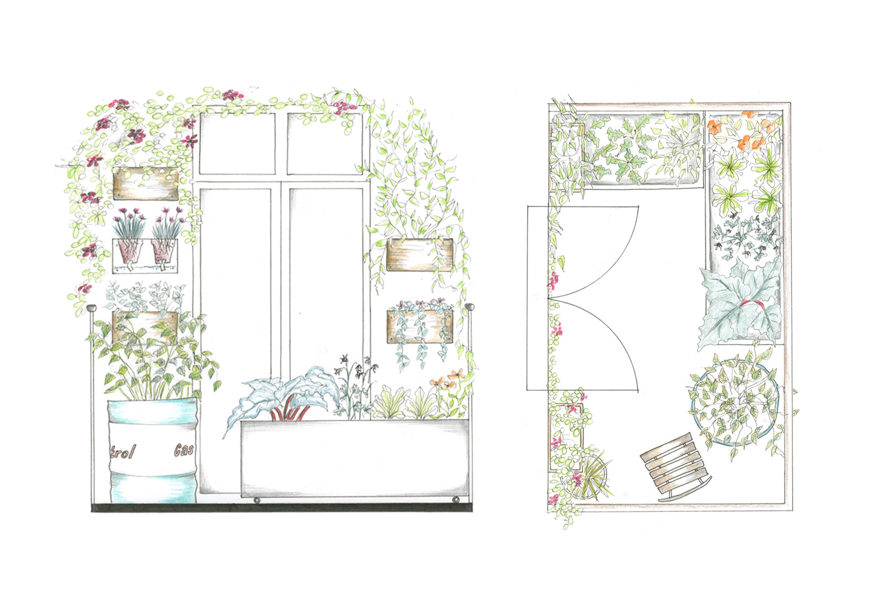 TagTomat-skitse til indretning af mellemstor altan