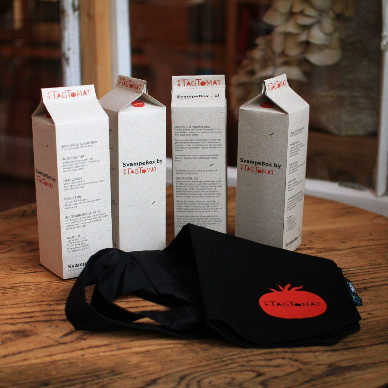 SvampeBox 1l - Gavesæt med 4stk dyrkningskit plus mulepose