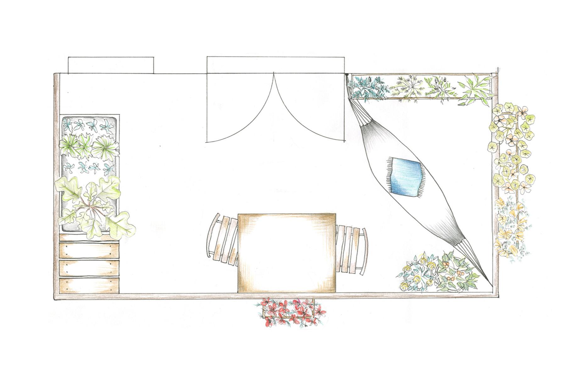 Indretning af en grøn oase på altanen med hængekøje.