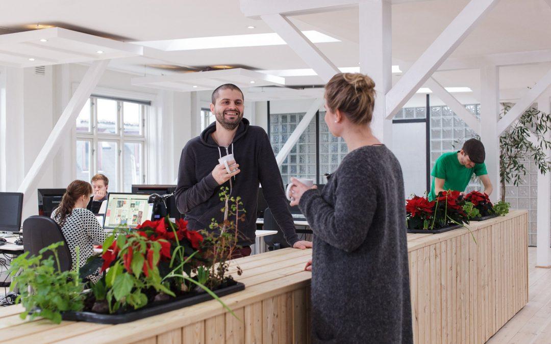 Plantevæg til storrumskontor med KontorTomater